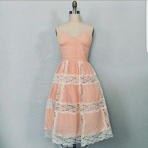 Betsey Johnson peach and lace dress